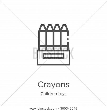 Crayons Icon Isolated On White Background From Children Toys Collection. Crayons Icon Trendy And Mod
