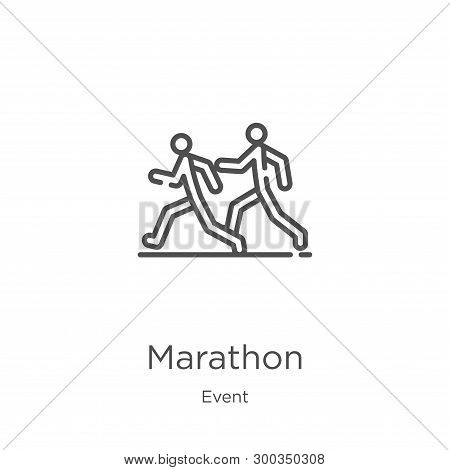Marathon Icon Isolated On White Background From Event Collection. Marathon Icon Trendy And Modern Ma