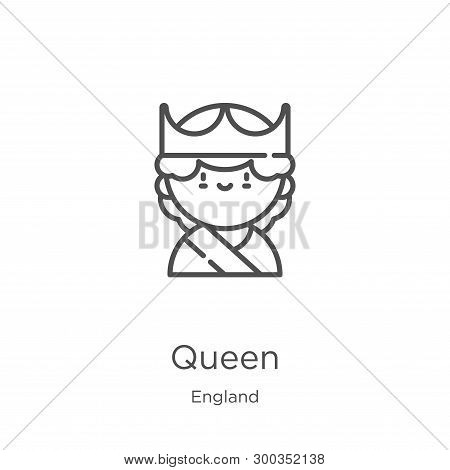 Queen Icon Isolated On White Background From England Collection. Queen Icon Trendy And Modern Queen
