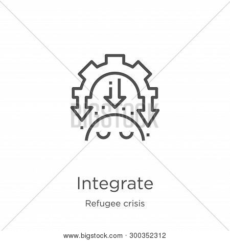 Integrate Icon Isolated On White Background From Refugee Crisis Collection. Integrate Icon Trendy An