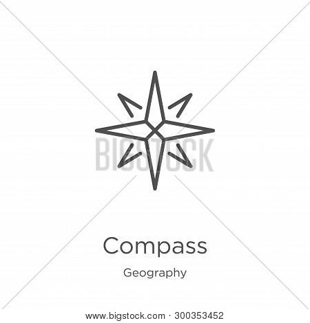 Compass Icon Isolated On White Background From Geography Collection. Compass Icon Trendy And Modern