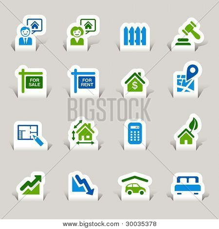 Paper Cut - Real estate icons