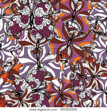 Purple, White And Black On Colors. Doodles Cute Pattern. Nice Background. Seamless Beautiful Fabric