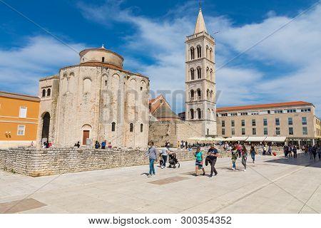 Zadar,croatia - April 21, 2019: Church Of St. Donatus In Zadar. Historic Center Of The Croatian Town