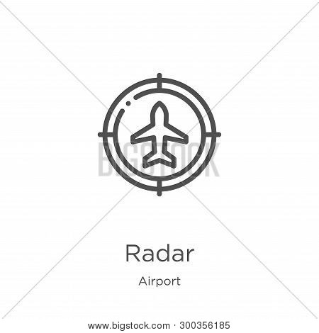 Radar Icon Isolated On White Background From Airport Collection. Radar Icon Trendy And Modern Radar