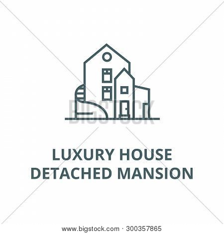 Luxury house, detached mansion vector line icon, linear concept, outline sign, symbol poster