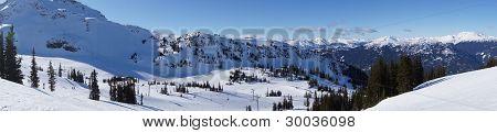 Panoramic View of Mountain Ski Resort