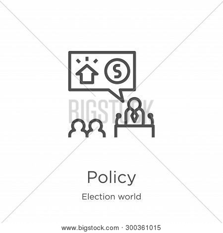 Policy Icon Isolated On White Background From Election World Collection. Policy Icon Trendy And Mode