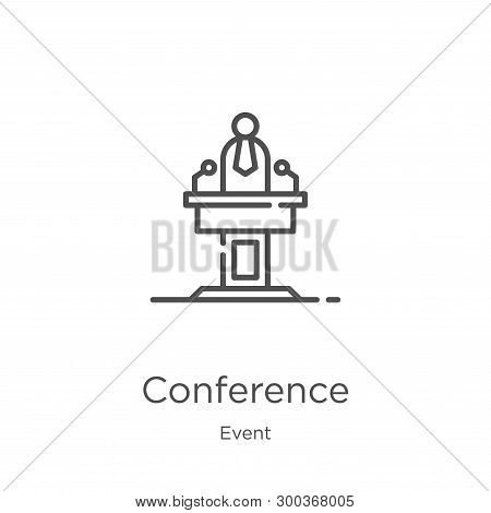 Conference Icon Isolated On White Background From Event Collection. Conference Icon Trendy And Moder