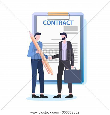 Businessmen Shake Hands Man With Pen Sign Contract Vector Illustration. Business Deal Document Agree