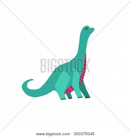 Dino Color Flat Hand Drawn Vector Character. Cute Long Neck Dinosaur. Sketch Brachiosaurus With Deco