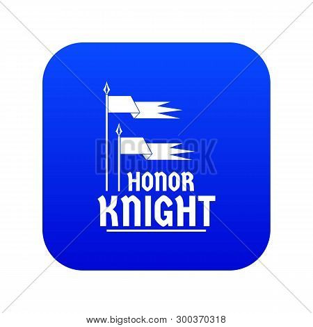 Flag Knight Icon Blue Vector Isolated On White Background