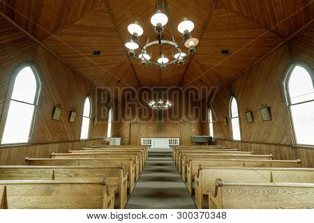 Tiburon, California - May 5, 2019: Interiors Of Old St. Hillarys Chapel. The Building Is Of Signific
