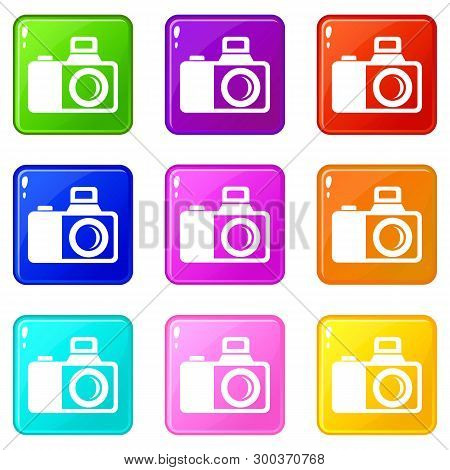 Photocamera Icons Set 9 Color Collection Isolated On White For Any Design