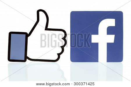 Kiev, Ukraine - March 26, 2019: Collection Of Facebook Logos Printed On White Paper. Facebook Is A W