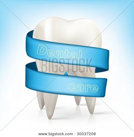 white tooth with a blue ribbon.vector