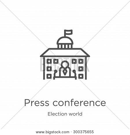 Press Conference Icon Isolated On White Background From Election World Collection. Press Conference