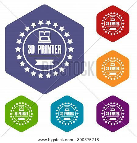 Prototype 3d Printing Icons Vector Colorful Hexahedron Set Collection Isolated On White