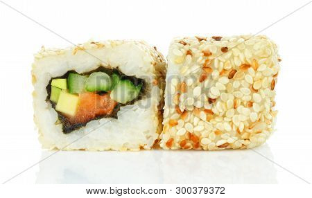 Sushi Roll Pieces With Salmon, Rice, Avocado, Cucumber And Nori