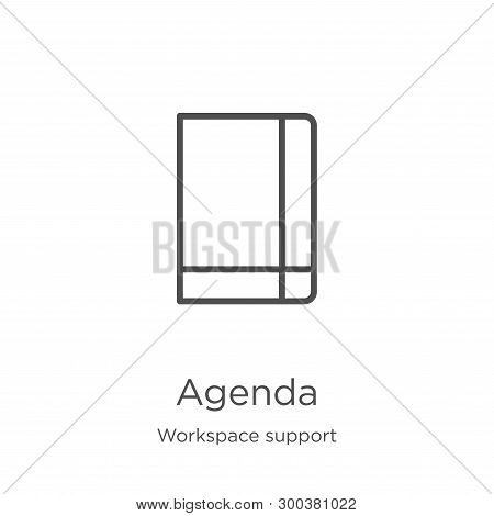 Agenda Icon Isolated On White Background From Workspace Support Collection. Agenda Icon Trendy And M