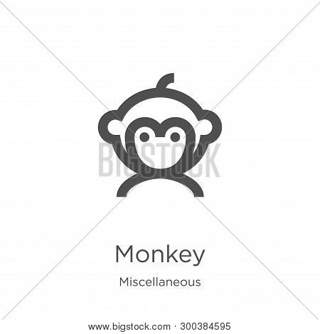 Monkey Icon Isolated On White Background From Miscellaneous Collection. Monkey Icon Trendy And Moder