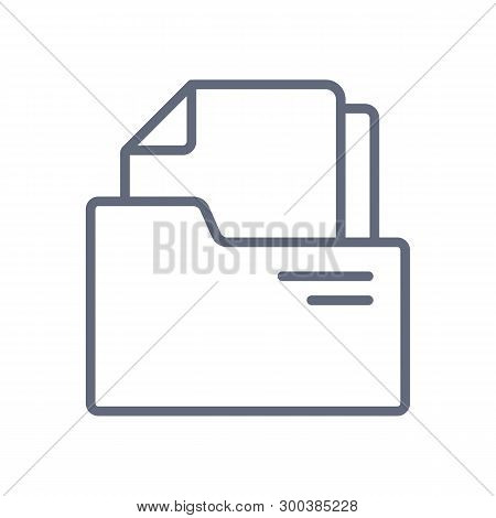 Document Folder Line Icon Collection. Document Vector Icon On White Background.