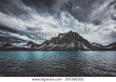 Brewing Storm At Bow Lake, Canada During Summer
