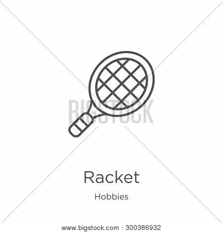 Racket Icon Isolated On White Background From Hobbies Collection. Racket Icon Trendy And Modern Rack
