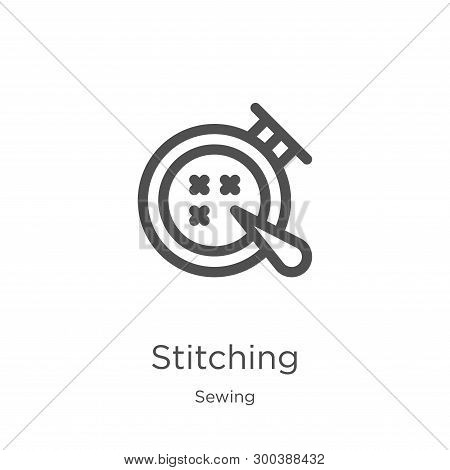 Stitching Icon Isolated On White Background From Sewing Collection. Stitching Icon Trendy And Modern