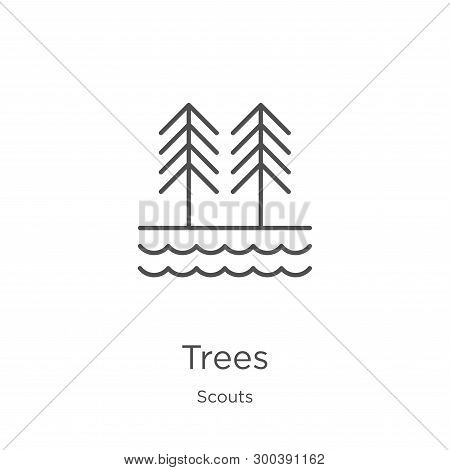 Trees Icon Isolated On White Background From Scouts Collection. Trees Icon Trendy And Modern Trees S