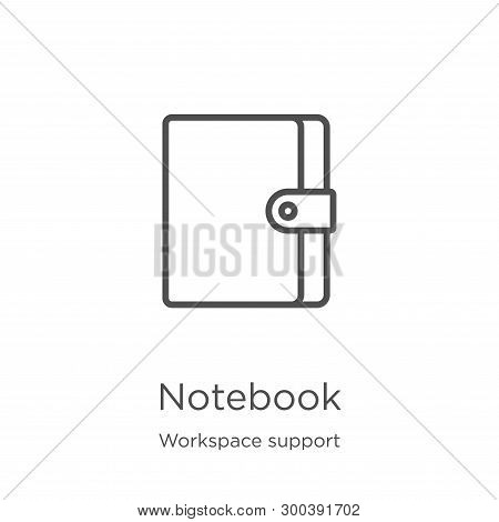 Notebook Icon Isolated On White Background From Workspace Support Collection. Notebook Icon Trendy A