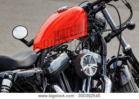 Moscow, Russia - May 04, 2019: Forty Eight Harley Davidson Motorcycle With Bright Orange Fuel Tank C