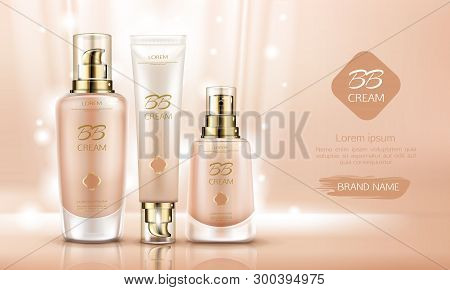 Bb Cream Beauty Cosmetics Bottles Mockup For Skin Foundation. Make Up Cosmetic Product Line Tubes Pa