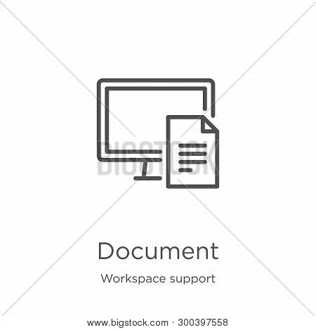 Document Icon Isolated On White Background From Workspace Support Collection. Document Icon Trendy A