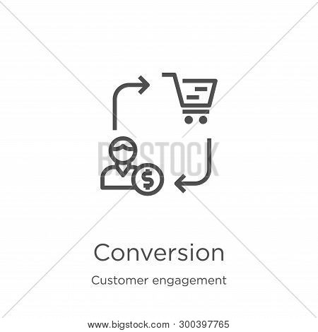 Conversion Icon Isolated On White Background From Customer Engagement Collection. Conversion Icon Tr