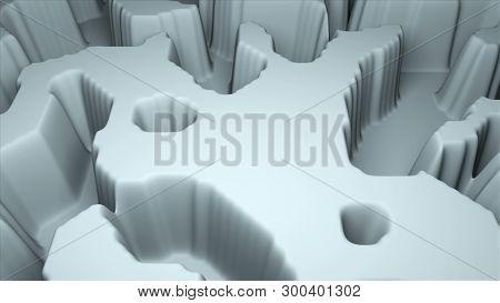 Simple Terrain Modern 3d Surface Model, 3d Rendering, Computer Generating Background