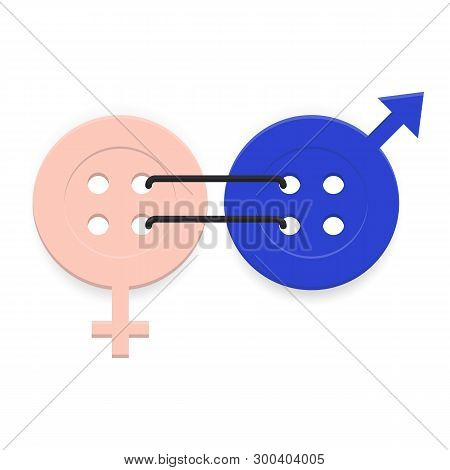 Gender Equality Icon. Symbol Of Equality, Collaboration, Connection, Relationship Of Man And Woman.