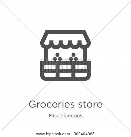 Groceries Store Icon Isolated On White Background From Miscellaneous Collection. Groceries Store Ico