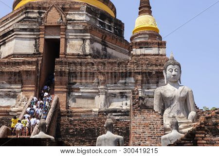 Ayuthaya Thailand - September14,2017 : Large Number Of Tourist Attraction To Wat Yai Chaimongkol One