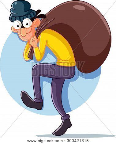 Cartoon Thief With Money Bag Vector Illustration