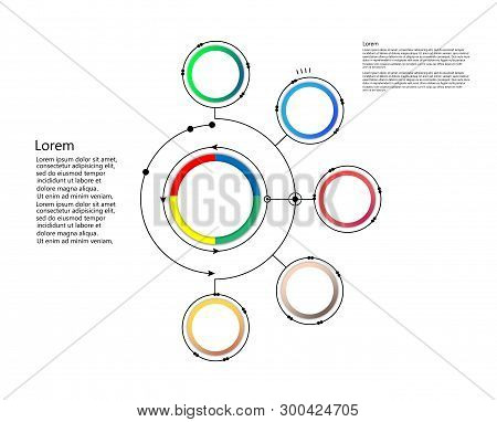 Infographic Template, Circle Design With Arrows Sign And 5 Options Or Steps. Can Be Used For Busines