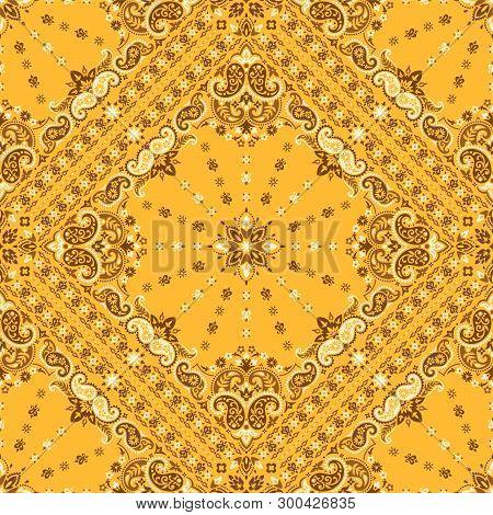 Seamless Pattern Based On Ornament Paisley Bandana Print. Boho Vintage Style Vector Background. Silk