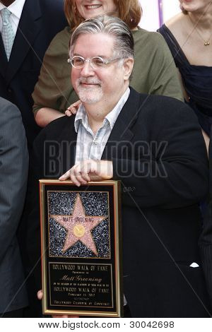 LOS ANGELES, CA - FEB 14: Matt Groening at a ceremony as Matt Groening receives a star on the Hollywood Walk Of Fame on February 14, 2012 in Los Angeles, California
