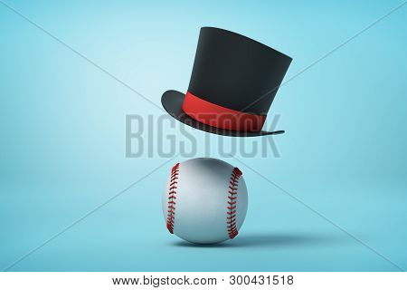 3d Rendering Of A Baseball And A Black Tophat Floating In The Air Above The Ball On Light Blue Backg