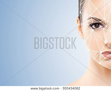 Face Of A Beautifyl Girl With A Scnanning Grid On Her Face. Face Id, Security, Facial Recognition, A