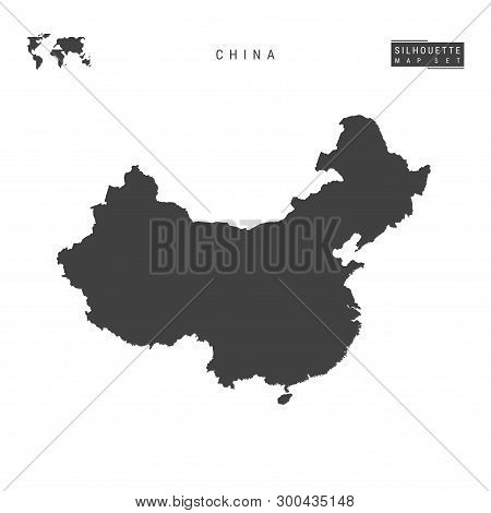 China Blank Vector Map Isolated On White Background. High-detailed Black Silhouette Map Of China.