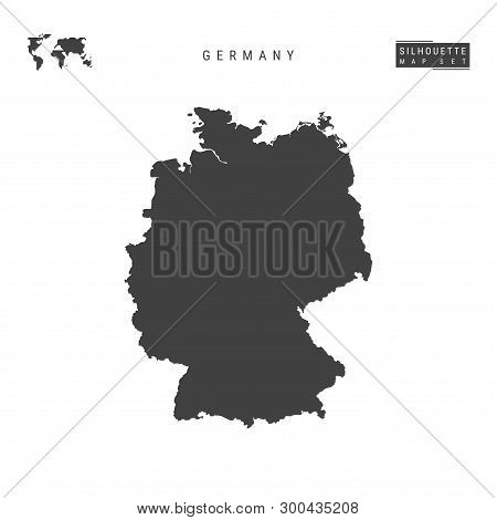 Germany Blank Vector Map Isolated On White Background. High-detailed Black Silhouette Map Of Germany