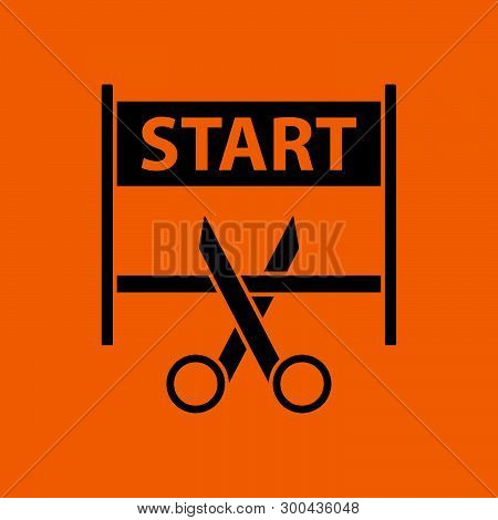 Scissors Cutting Tape Between Start Gate Icon. Black On Orange Background. Vector Illustration.
