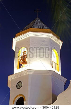 Carmen Parish Church (parroquia Nuestra Senora Del Carmen) Bell Tower At Night, Fuengirola, Costa De