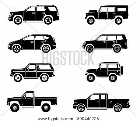 Off-road 4x4 Suv Cars Set. Side View Offroad Car In Different Colors. Flat Style Suv. Vector Illustr